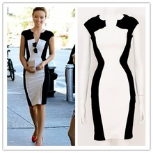 2014 New Summer European Style vestidos de fiesta Women Patchwork V-Neck Knee Length Bodycon Casual Pencil Cocktail Party Dress