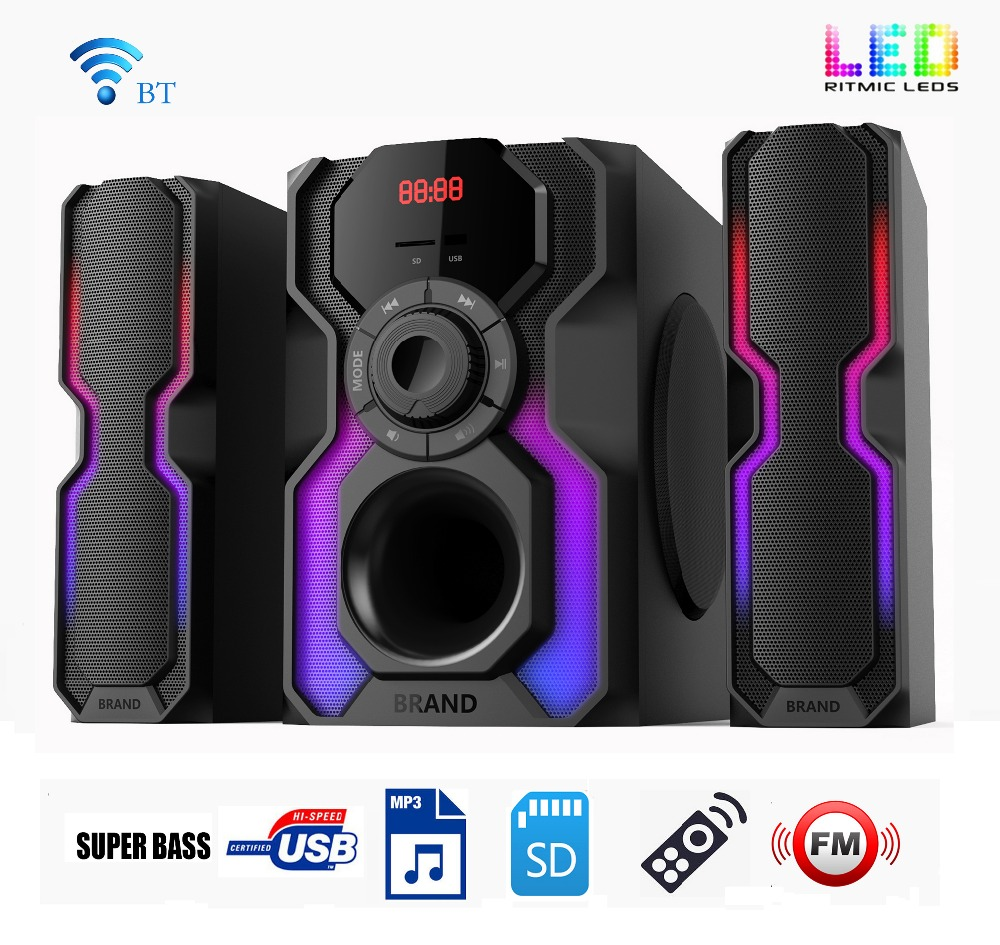 Newly great sound 1000 watt 2.1 multimedia active speaker system with amplifier 6.5 inch woofer 3 inch satellites
