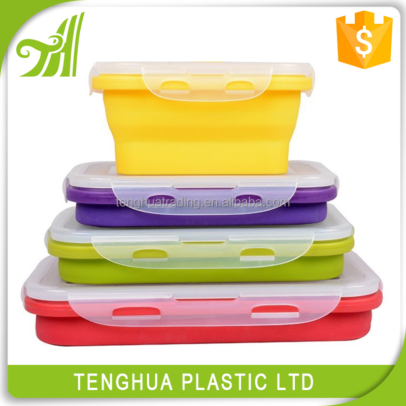 Silicone Product Silicone Foldable Lunch Box/Silicone Collapsible Lunch Box/Silicone Food Container