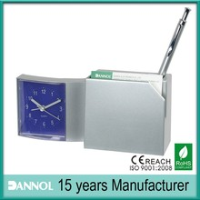 promotional item clock tables pen holder with clock