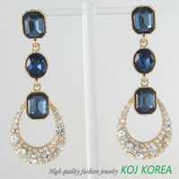 KE-132 montana color long earring, Korea fashion jewelry