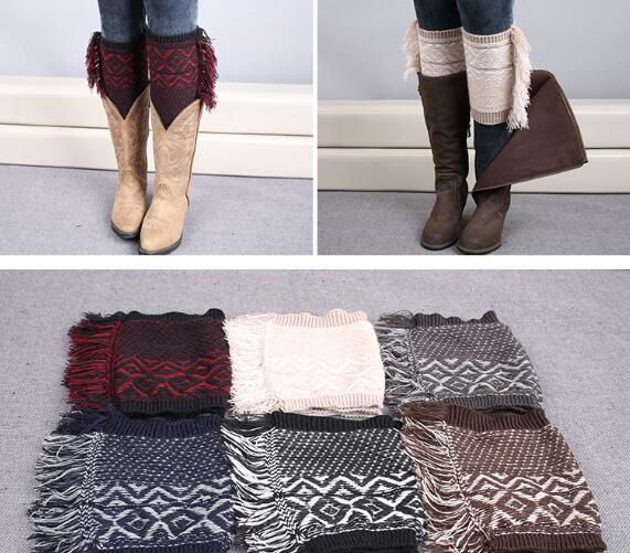 New Girl Crochet Knitted Fringe Trim Boot Cuffs Toppers Leg Warmers Winter Socks