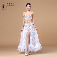 New Arrivals Performance Oriental Belly Dance Costume 3 pcs Suit Bead Bra Belt and Skirt Belly Dance Costume best fabric