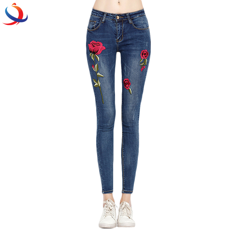 High Waist Zipper Straight Rose Pattern Embroidered Women'S Stretch Jeans