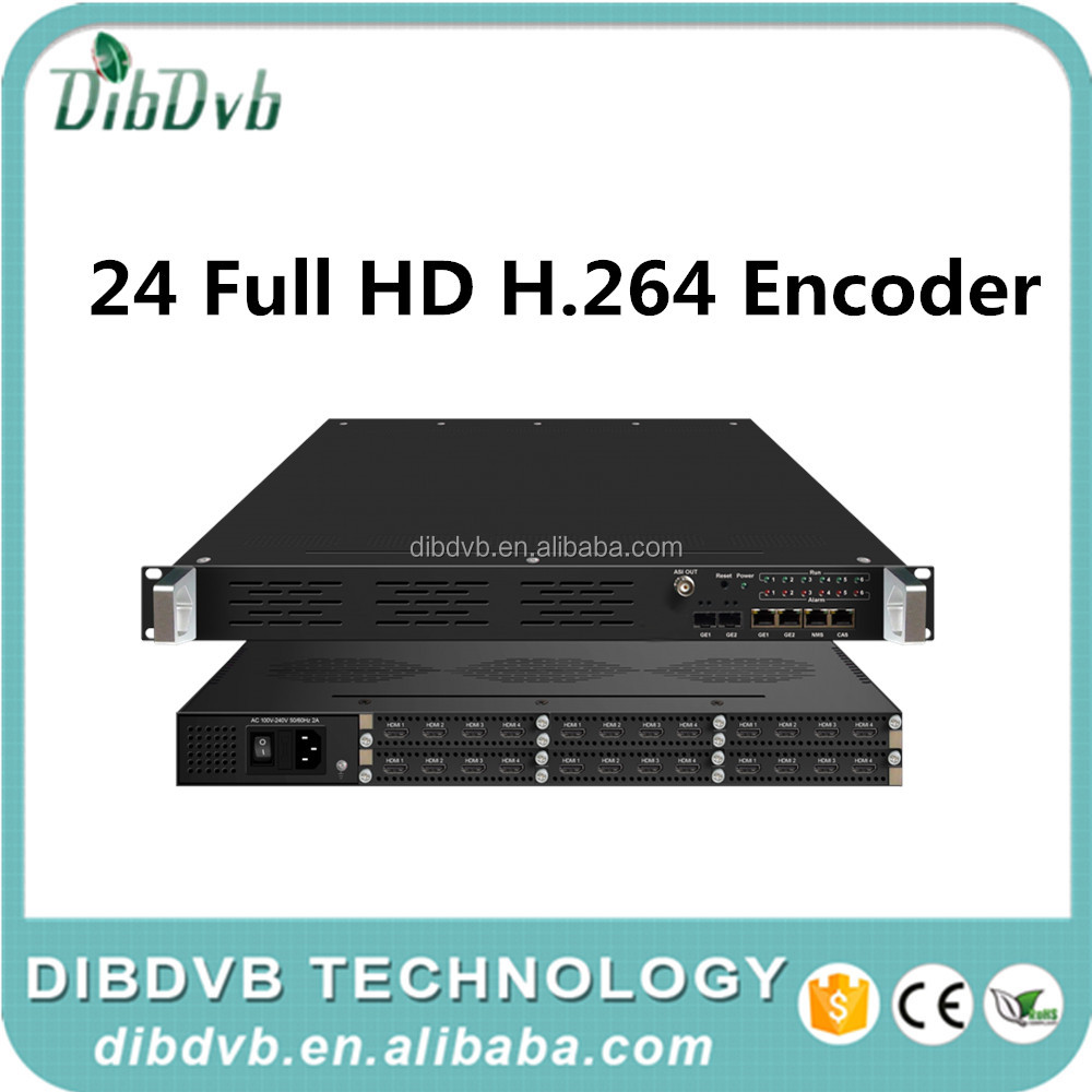 cable tv digital headend 24 channels FullHD Encoder with HD MI input, H.264 encoding, IP and ASI output with MUX