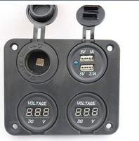 four Hole Panel Car Digital Voltmeter +Dual USB 2 Port Charger+12V Power Socket+switch