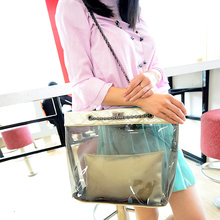 2017 girls fancy clear transparent pvc handbag beach shoulder sling bag