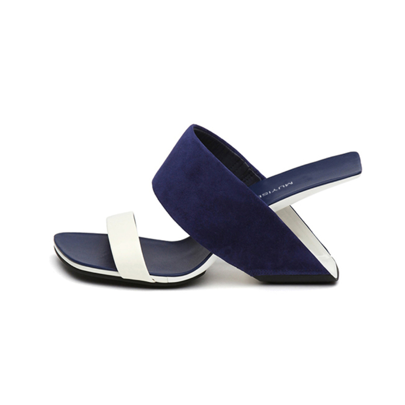 Mixed Colors Unique Summer Women Shoes <strong>Sandals</strong> Slippers Women's heel <strong>sandals</strong> 8.5 cm combination Wedge Heel Sexy Blue HL90-1
