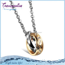 Custom engraved couple gold stainless steel pendant wholesale jewelry