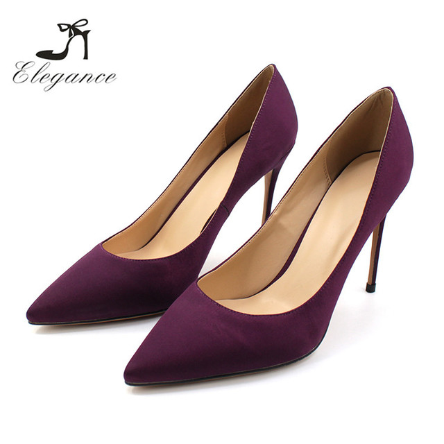 2018 S/S Fashion Elegance Cheap Sexy Girls Plain Purple Solid Color Satin Pencil High Heel Shoes Pumps After Party Wear