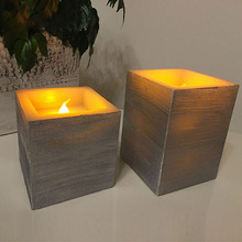 Battery Operated Paraffin Wax Square LED Flameless Candle Light