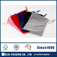 Best Quality grey Velvet Jewelry Pouch Gem Packing Bags with label