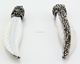 Boho ivory large bone carved pave crystal rhinestone leaf shape pendants for necklace
