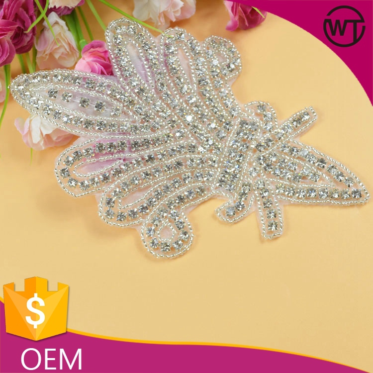 Wholesale wedding dress accessories rhinestone appliques decorations for evening dresses