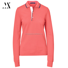 Womens custom soft cotton blend tailored fit ribbed collar long sleeve golf polo shirt