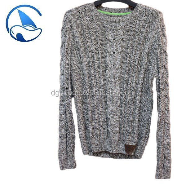 2017 knitting mens sweater heavy gauge cable knitwear