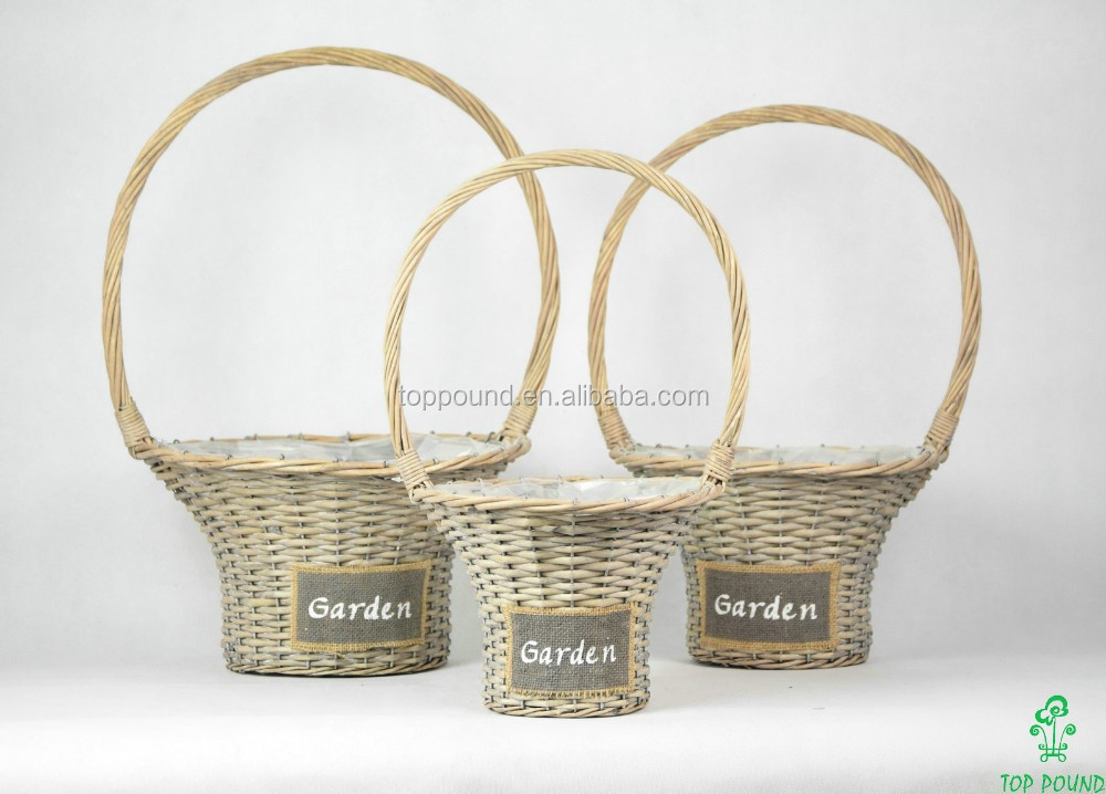 Round hat wicker basket with over handle and plastic liners decoratived by plaster colth used for Home and Garden (K4-1870)