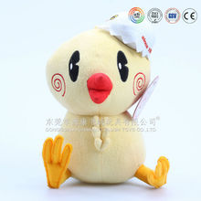 Custom plush soft sitting chicken toy/promotional cute yellow chicken stuffed toys