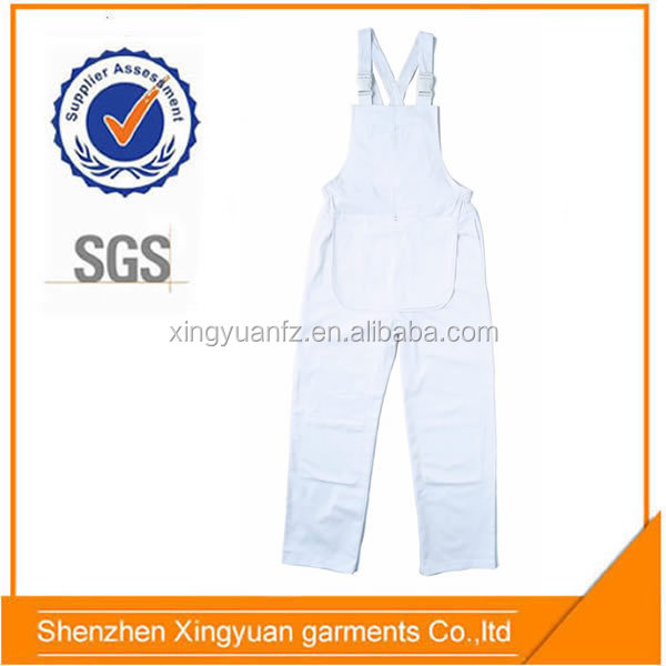 Star SG Cheap 100%cotton Painter's white bib pants overalls workwear