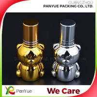 lovely bear shape 10ml glass bottle silver/golden uv coating for pocket perfume bottle package
