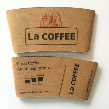 F101 China Factory Low MOQ custom logo kraft paper coffee sleeves fit for 8-10 OZ cups