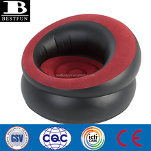 heavy duty flocked PVC inflatable big round chair durable inflatable armchair stool folding inflatable single sofa chair