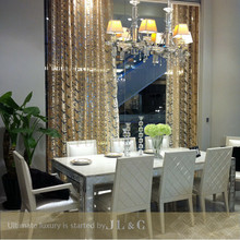 Wooden dining room set with crystal and gold leaf decoration JT14 from china supplier-JL&C Furniture