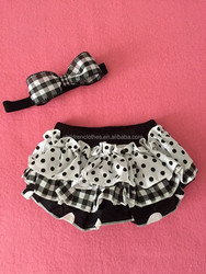 Infant clothing wholesale ruffle diaper cover baby bloomers ruffle with headband