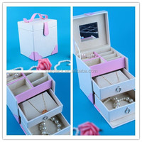 Wholesale Pu leather Wooden Jewelry Packaging Box Or Case With handle for Set W1319