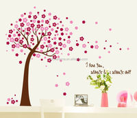 Removeable beautiful peach blossom pvc wall sticker for home decoration