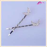 Wholesale Price Simple Designs Alloy Cute Crystal Wings For Girls Long Hair Bridal Pins Accessories