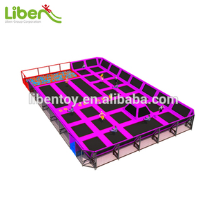Rectangular Commercial Indoor Trampoline Park/Bungee Jumping Trampoline with Foam Pit