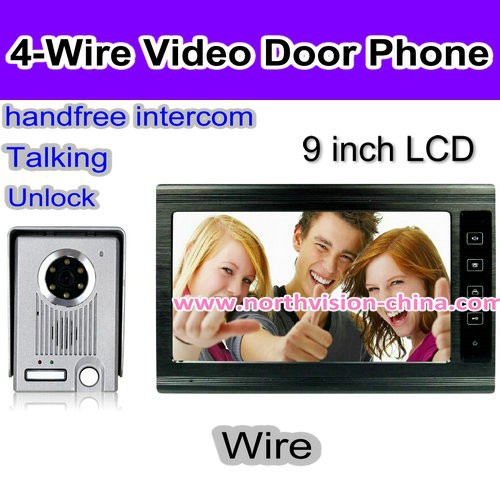 9 inch video door phone for apartment with motion detection, night vision, hand-free intercom, 4 indoor unit to 1 outdoor