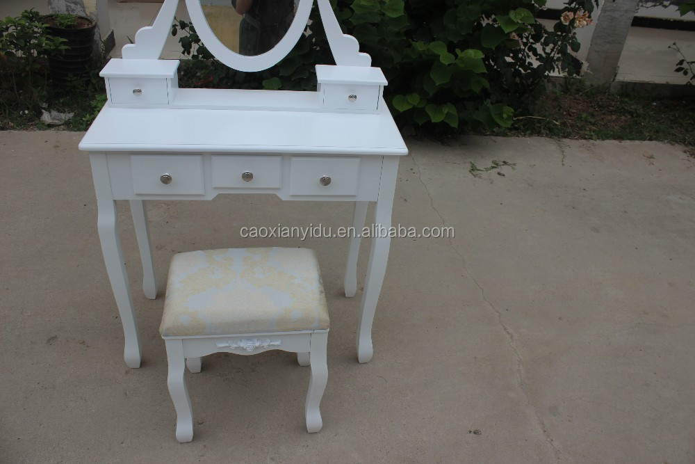 2016 Hot Sale Antique Dressing Table with Mirrors & Stool