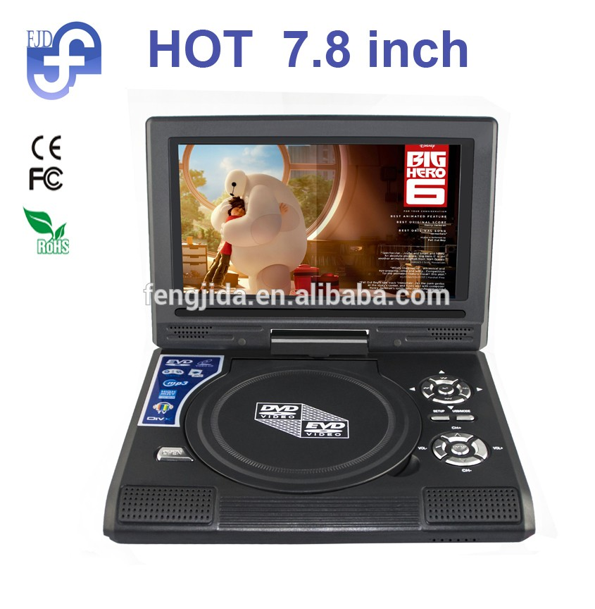 factory price LCD mini display portable car DVD player with battery