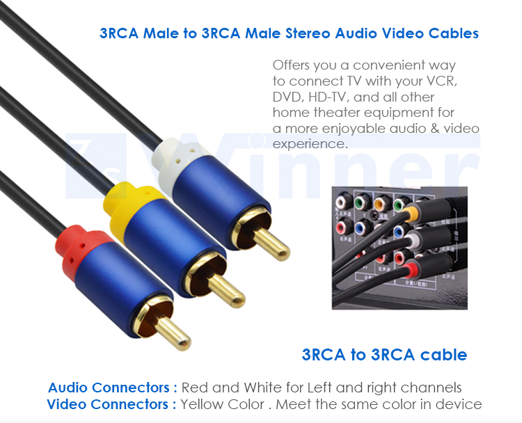 3RCA Composite Video Audio AV Cable ( 3 RCA Male to 3 RCA Male A/V Cable )