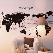 Hot Sale World Map PVC Wall Sticker for Kids Romm Home Decor