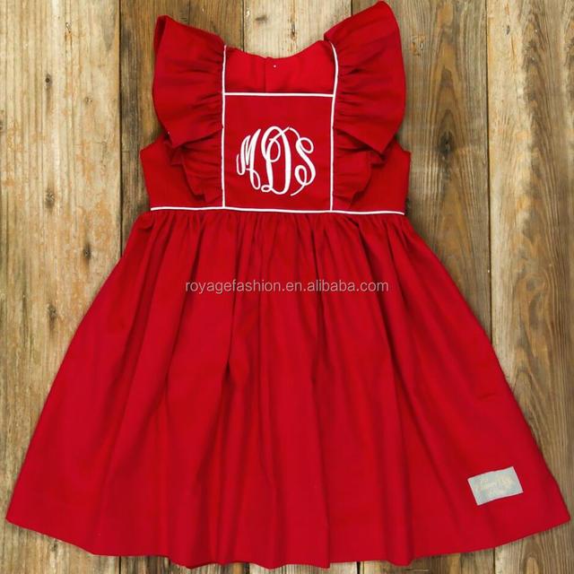 wholesale boutique fall winter baby girls ruffle christmas dress