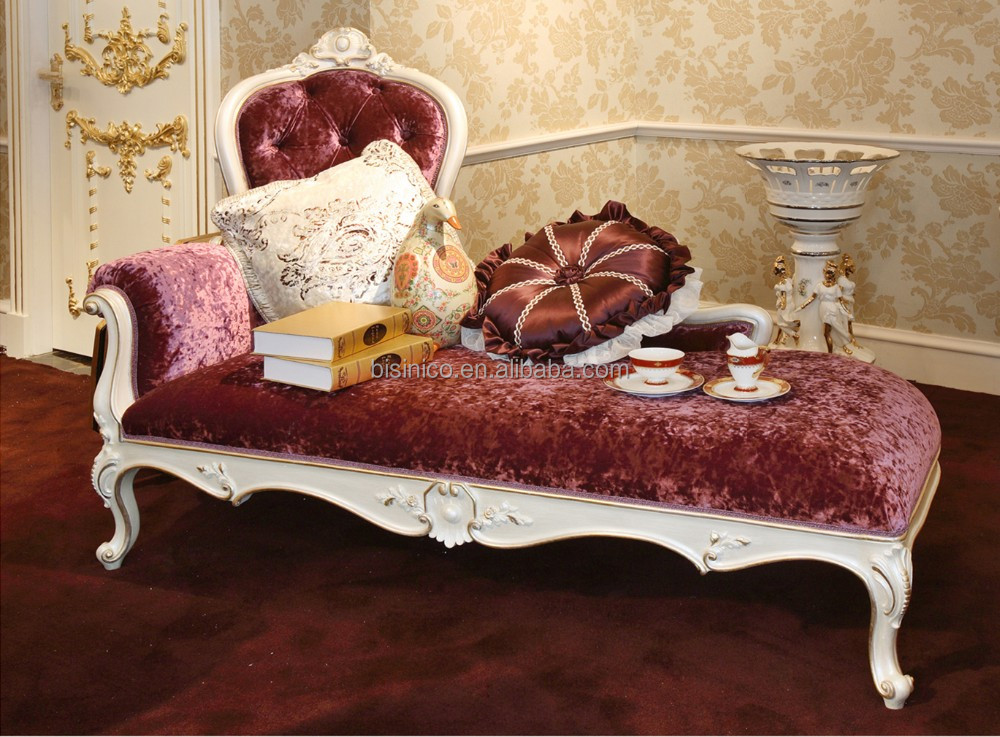 French Elegant Style Wooden Living Room Chaise Lounge/ Antique Purple Fabric Carving Reclining Chair