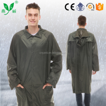 mens heavy duty pvc long raincoat with zipper