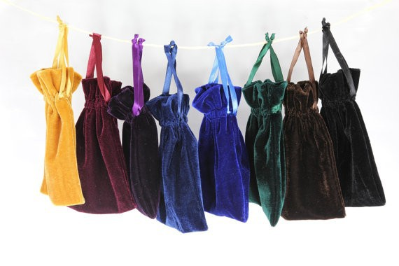 "4""x6"" Velvet Bags, Jewelry Wedding Party Gift, Drawstring Pouches"