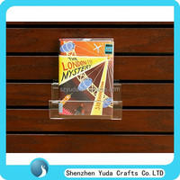 Crystal clear slatwall gift card display rack, greeting cards books display shelves for promotion