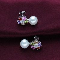 fashion mixed color diamond natural freshwater pearl 925 sterling silver jewelry earring pendant set