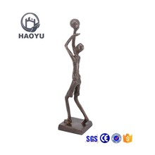 Sports metal art bronze man playing basketball statues and sculptures for home decoration