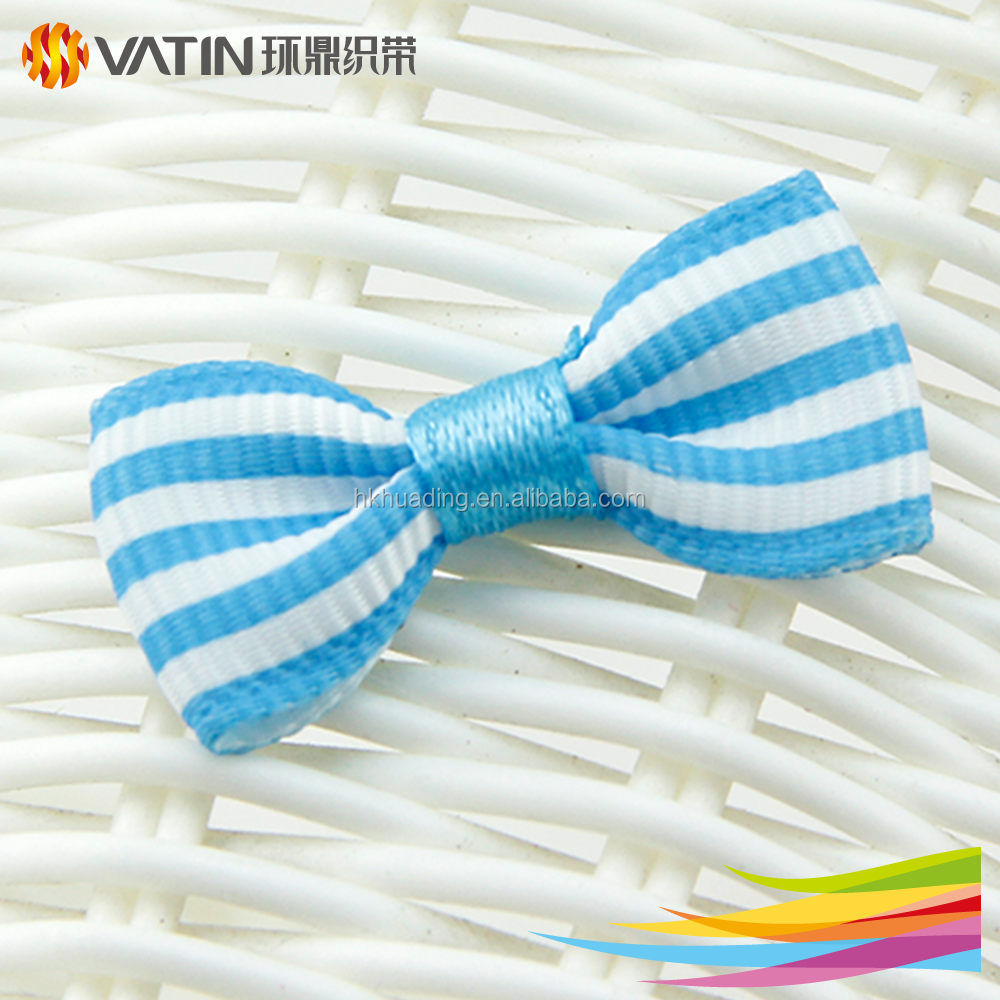 Wholesale Custom New Design Fancy Blue And White Stripe Grosgrain Ribbon Bow