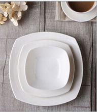 Haonai wholesale super white square shape porcelain plate white dinner plate