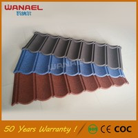 Construction material Spanish style waterproof stone coated metal roof tile
