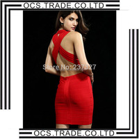 2015 Cheap Celebrity Bodycon Wholesale see through bandage dress