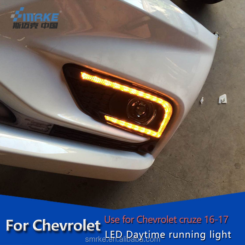 Modified LED drl for Chevrolet cruze daytime running light,Fog lamp cover for cruze drl front light with amber turn signal 2017
