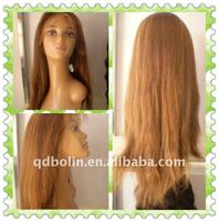 Best selling 20 inch 100% human hair blonde lace front wig
